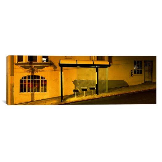 iCanvas Panoramic California, San Francisco, Bus Stop at Night Photographic Print on Canvas