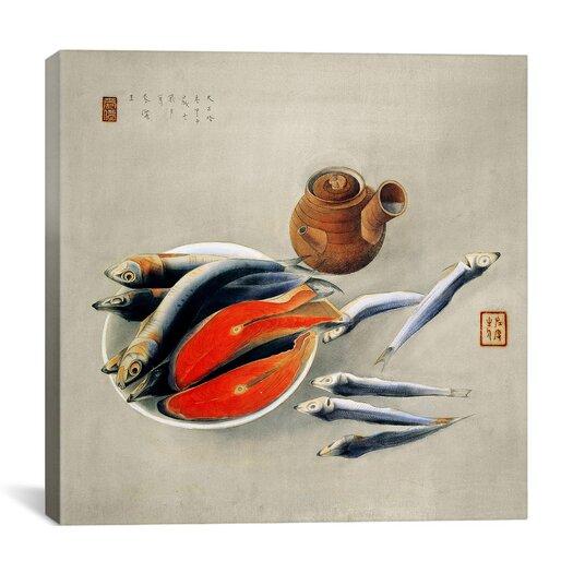 "iCanvas ""Still Life: Salmon Slices and Sardines"" Canvas Wall Art by Tsuchida Bakusen"