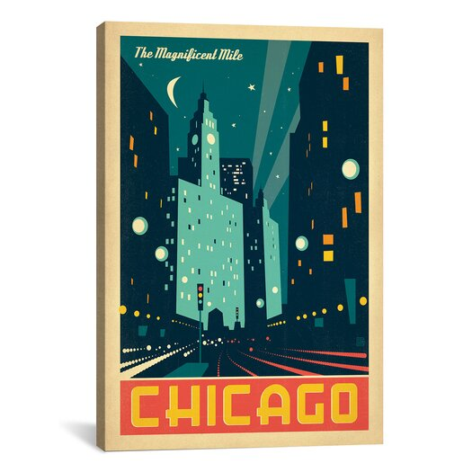 iCanvas 'The Magnificent Mile - Chicago, Illinois' by Anderson Design Group Vintage Advertisment on Canvas