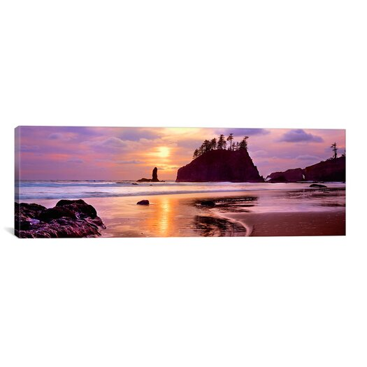 iCanvas Panoramic Silhouette of Sea Stacks at Sunset, Second Beach, Olympic National Park, Washington State Photographic Print on Wrapped Canvas