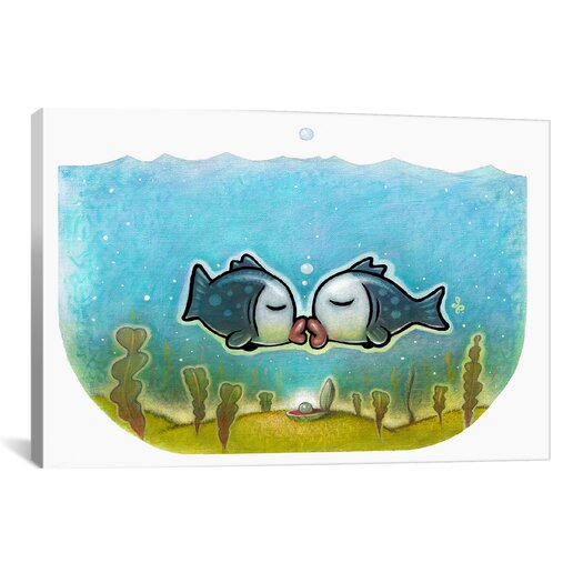 iCanvas 'Kissy Fish' by Daniel Peacock Graphic Art on Wrapped Canvas