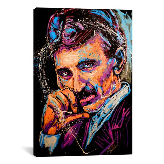 iCanvas Rock Demarco Nikola Tesla 003 by Rock Demarco Painting Print on Canvas