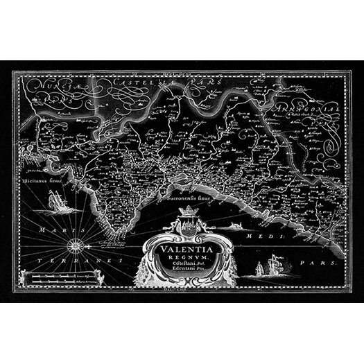 iCanvas Antique Map of the Valentia Kingdom (1634) by G and J Blaeu Graphic Art on Canvas in Black