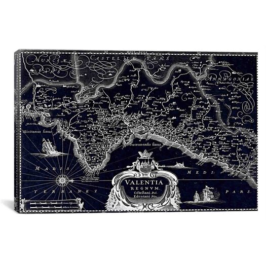 iCanvas Antique Map of the Valentia Kingdom (1634) by G and J Blaeu Graphic Art on Wrapped Canvas