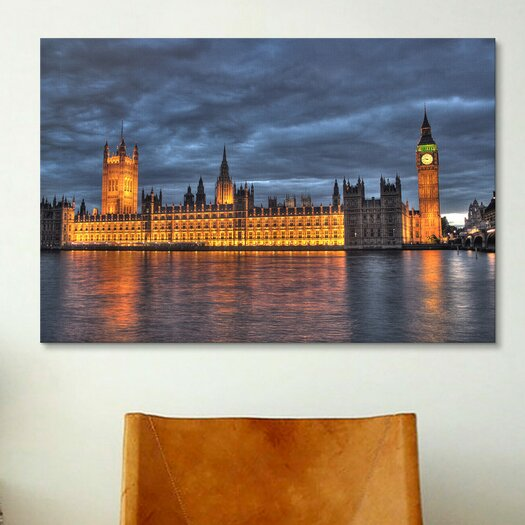iCanvas Political British Parliament and Big Ben Clock Tower Photographic Print on Canvas