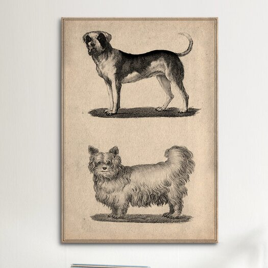 iCanvas Animal Art Vintage French Dogs Painting Print on Canvas