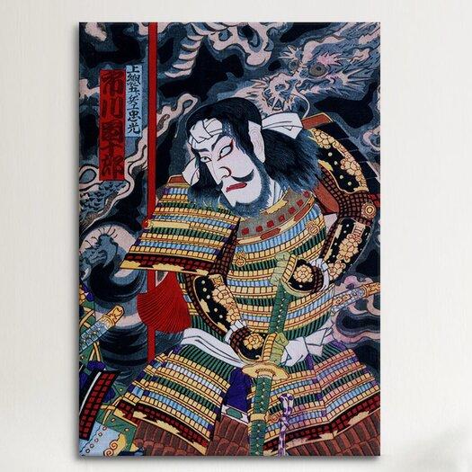 iCanvas Japanese Samurai with Katana Woodblock Painting Print on Canvas