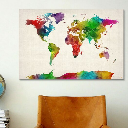 iCanvas 'Watercolor Mapof theWorld III' by Michael Tompsett Graphic Art on Canvas