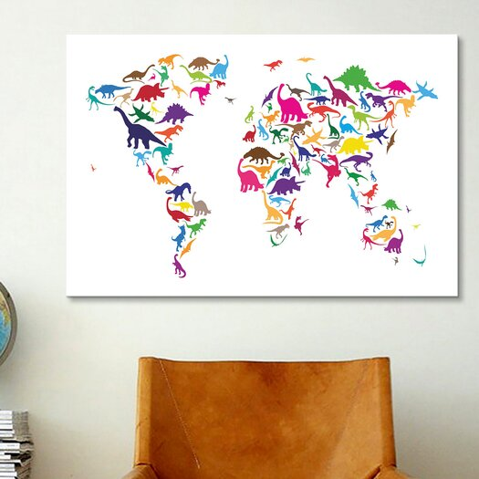 iCanvas 'Dinosaur Map of the World Map II' by Michael Tompsett Graphic Art on Canvas