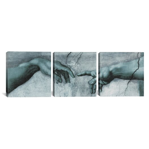iCanvas Michelangelo di Lodovico Buonarroti Simoni The Creation of Adam IV 3 Piece on Wrapped Canvas Set