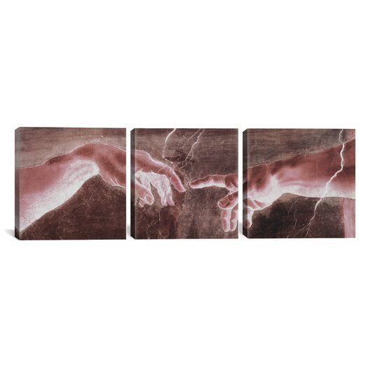 iCanvas The Creation of Adam VI Di Lodovico Buonarroti Simoni by Michelangelo 3 Piece Painting Print on Wrapped Canvas Set