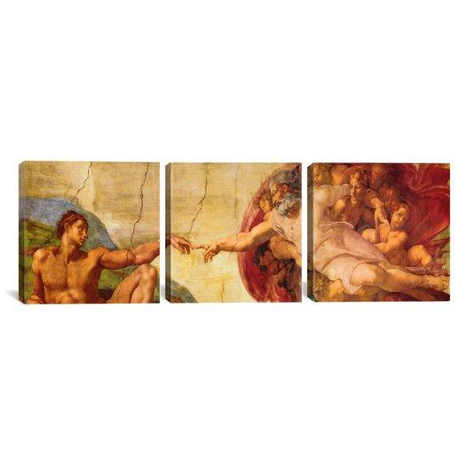 iCanvas Creation of Adam Di Lodovico Buonarroti Simoni by Michelangelo 3 Piece Painting Print on Wrapped Canvas Set
