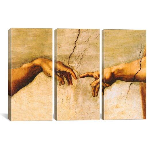 iCanvas Michelangelo di Lodovico Buonarroti Simoni The Creation of Adam 3 Piece on Wrapped Canvas Set
