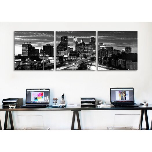 iCanvas Panoramic Photography Minneapolis Skyline Cityscape Evening 3 Piece on Wrapped Canvas Set in Black and White