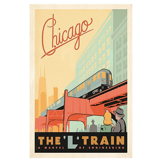 "iCanvas ""The L Train Chicago, Illinois"" by Anderson Design Group Vintage Advertisment on Canvas"