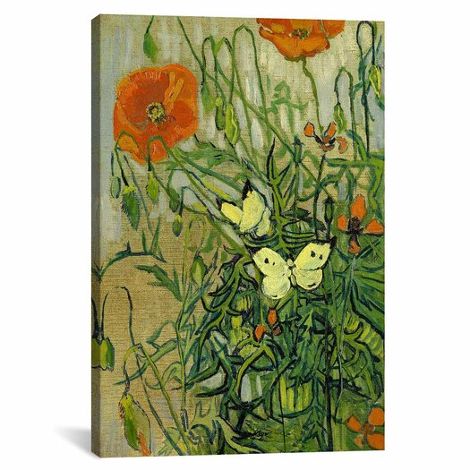 iCanvas 'Butterflies and Poppies' by Vincent Van Gogh Painting Print on Canvas