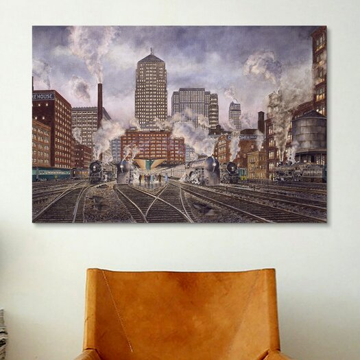 iCanvas '20Th Century Ltd, Leaving Chicago' by Stanton Manolakas Painting Print on Canvas