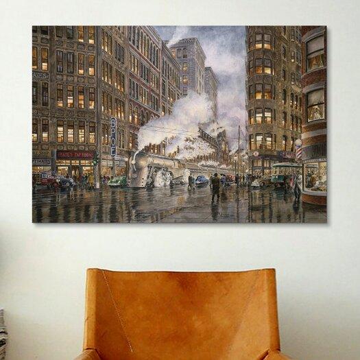 iCanvas '20Th Century Ltd at Syracuse New York, Washington and Wharf Sts, California 1936' by Stanton Manolakas Painting Print on Canvas