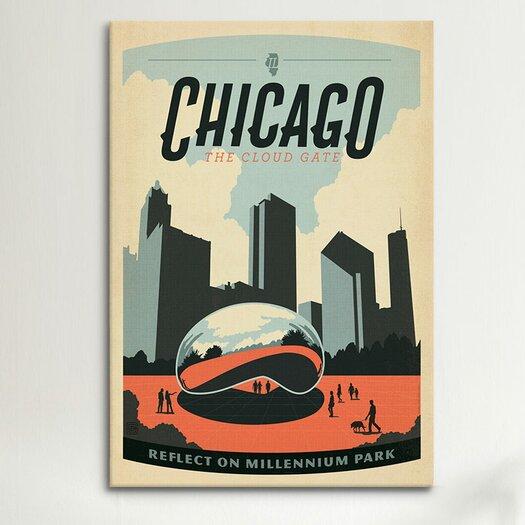 iCanvas 'Reflecton Millennium Park - Chicago, Illinois' by Anderson Design Group Vintage Advertisement on Canvas