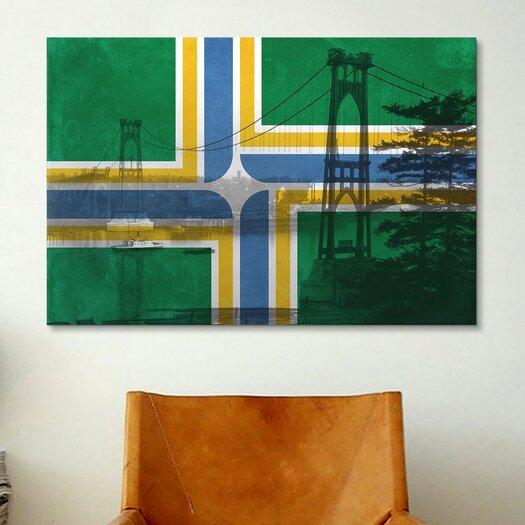 iCanvas Portland Flag, St. Johns Bridge with Lomo Film Grunge Graphic Art on Canvas