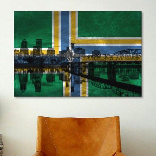 iCanvas Portland Flag, City Skyline Painting Print on Canvas