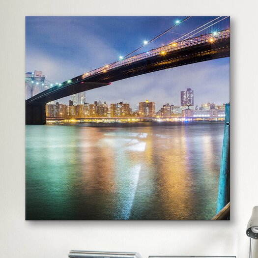 iCanvas 'Brooklyn Bridge Pano #2, Part 2 of 3' by Moises Levy Photographic Print on Canvas