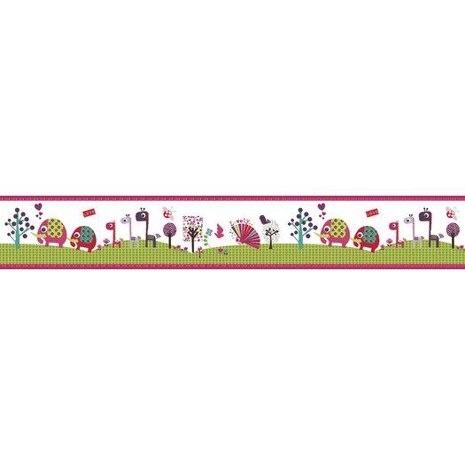 "Lemon Ribbon Animal Sanctuary Medium Roll 5' x 10.6"" Wildlife Border Wallpaper"