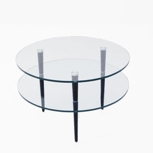 Focus One Home Saturn End Table with Wooden Legs