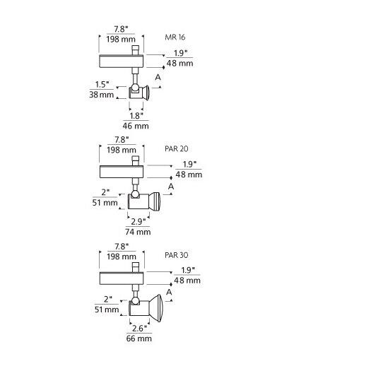 Tech Lighting Tweak 2-Circuit 1 Light Ceramic Metal Halide PAR20 Track Light Head
