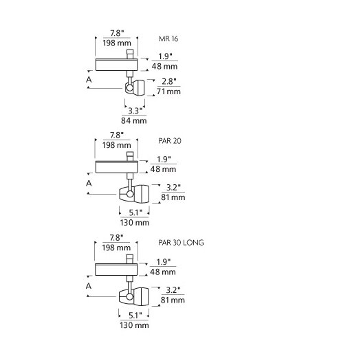 Tech Lighting Om 2-Circuit 1 Light Ceramic Metal Halide MR16 20W Track Light Head