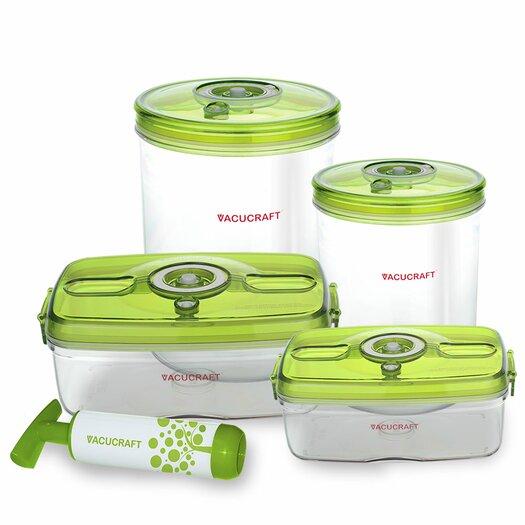 Vacucraft 5-Piece Versatile Vacuum Food Container Set