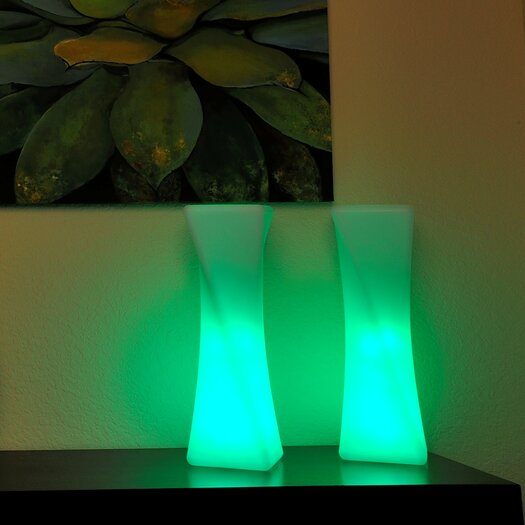"Contempo Lights Inc LuminArt Xanadu LED Rechargeable Designer 21"" H Table Lamp with Novelty Shade"