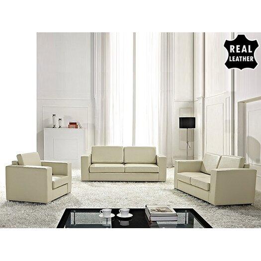 Beliani Helsinki European 3 Piece Leather Living Room Set