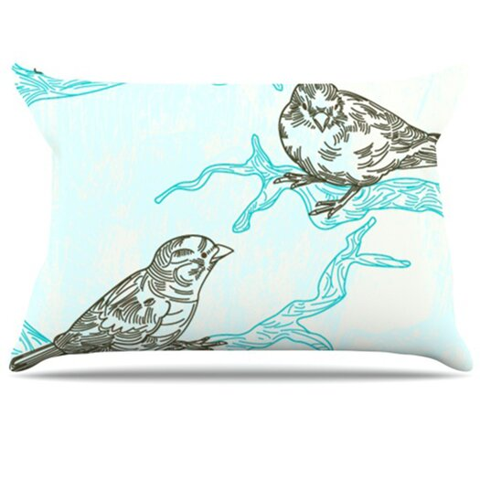 KESS InHouse Birds in Trees Pillowcase