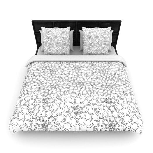 KESS InHouse White Flowers by Julia Grifol Light Duvet Cover