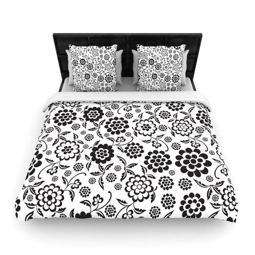 """KESS InHouse """"Cherry Floral White"""" Woven Comforter Duvet Cover"""