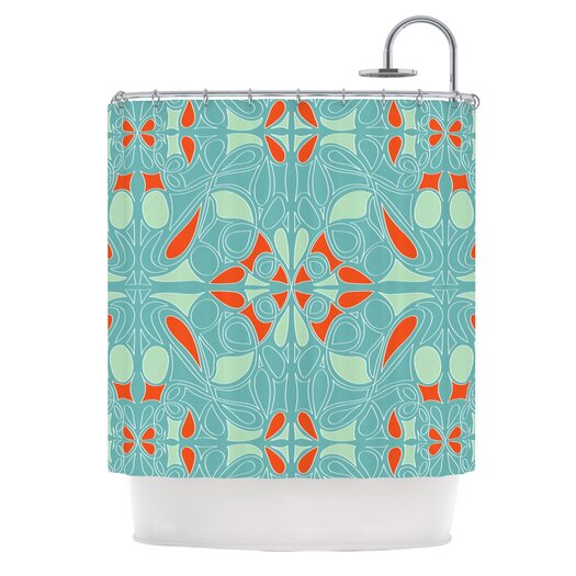 KESS InHouse Seafoam and Orange Shower Curtain