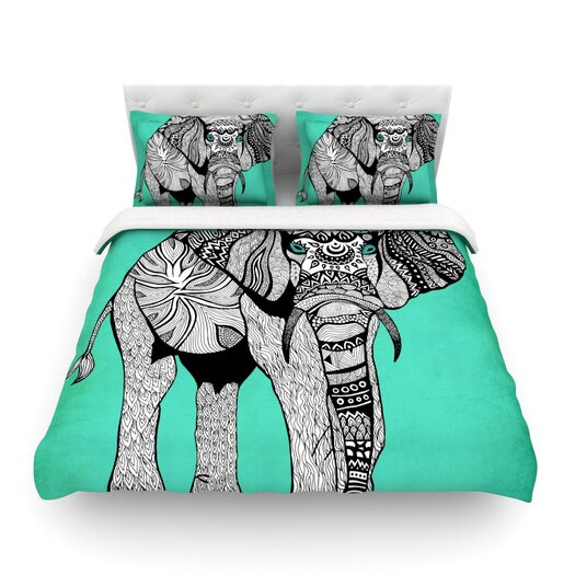 """KESS InHouse Pom Graphic Design """"Elephant of Namibia"""" Featherweight Duvet Cover"""