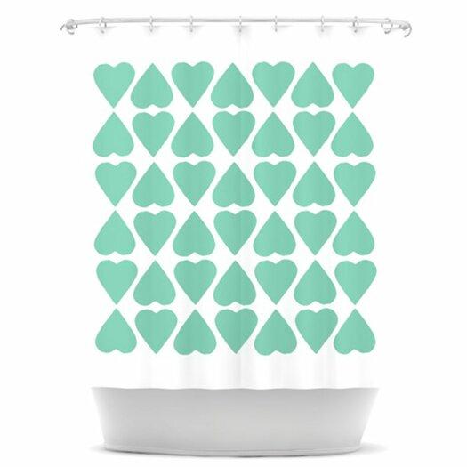 KESS InHouse Diamond Hearts Shower Curtain