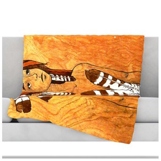 KESS InHouse Owl Feather Dress Throw Blanket