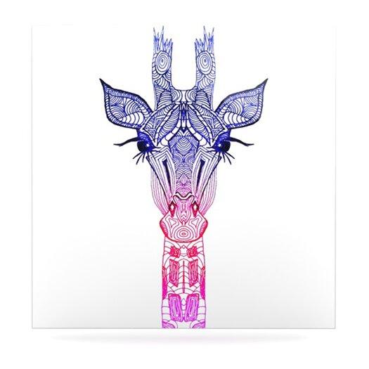 KESS InHouse Rainbow Giraffe by Monika Strigel Painting Print Plaque