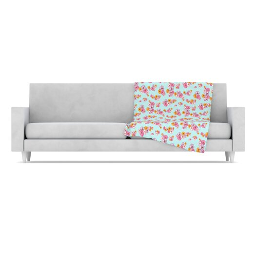 KESS InHouse Paper Flower Fleece Throw Blanket