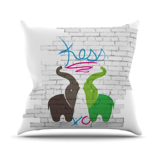 KESS InHouse Elephants Throw Pillow