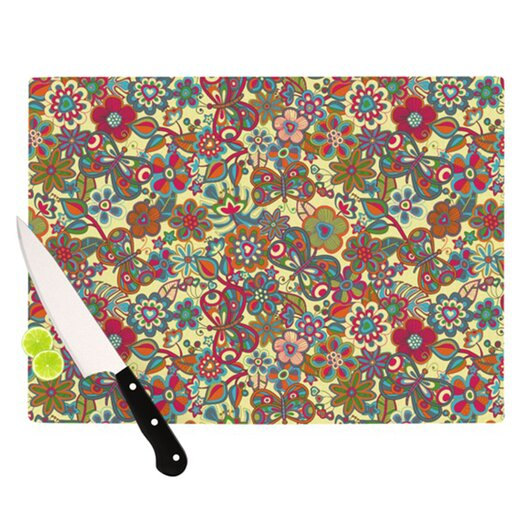 KESS InHouse My Butterflies and Flowers Cutting Board