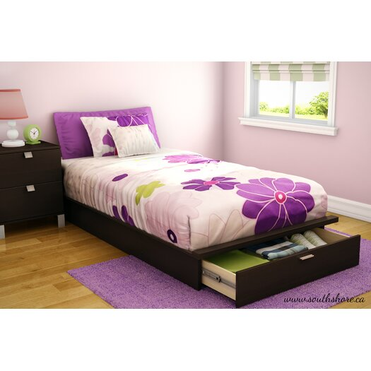 South Shore Twin Platform Bed with Storage in Chocolate