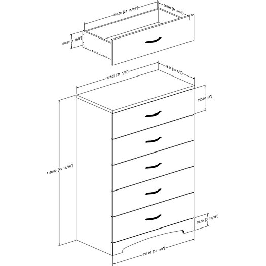 South Shore Step One 5 Drawer Chest