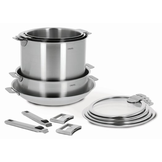Cristel Strate 13-Piece Cookware Set with Optional Handle