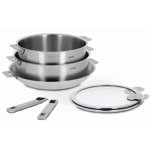 Cristel Strate 7-Piece Cookware Set with Optional Handle