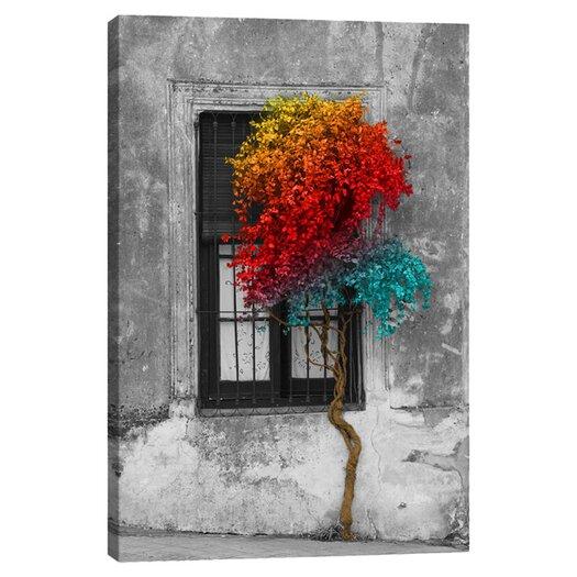 Tree in Front of Window Rainbow Pop Color Pop Canvas Art