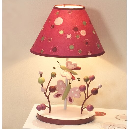 """Lambs & Ivy Raspberry Swirl 12"""" H Table Lamp with Empire Shade"""
